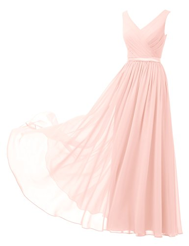Pearl V-neck - Alicepub V-Neck Chiffon Bridesmaid Dress Long Party Prom Evening Dress Sleeveless, Pearl Pink, US16