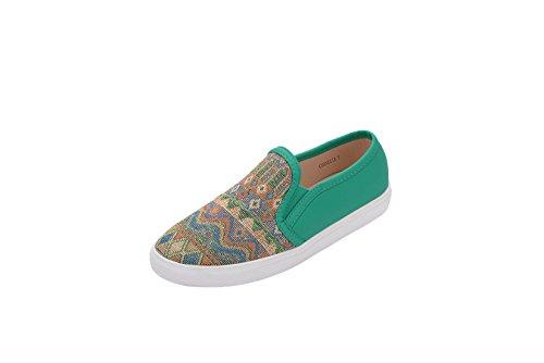 Greens Corrnelia Vrouwen Canvas Slip Op Tribal Pattern Fashion Sneakers, Green