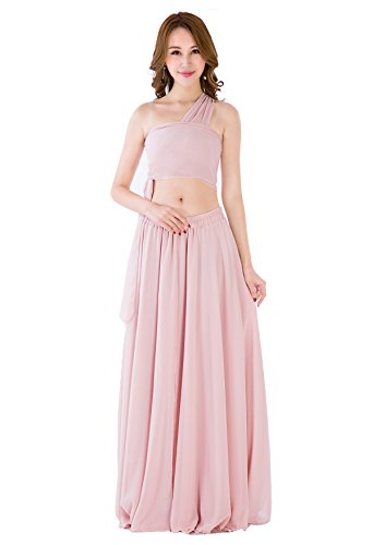 Sinreefsy Women Summer Chiffon High Waist Pleated Big Hem Full/Ankle Length Beach Maxi Skirt(Medium/Nude ()