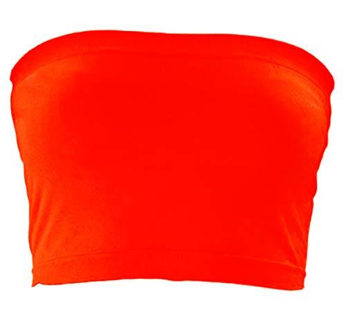 KMystic Stretch Seamless Tube Bra Bandeau Top (One Size, Neon Orange)