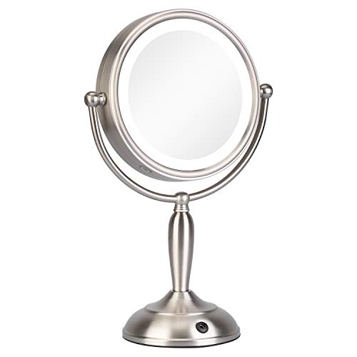KEDSUM 8 Inch 1X 10X Lighted Magnifying Makeup Mirror with 3 Lighting Modes, Double Sided Magnification Vanity Mirror with Lights, Cordless Tabletop Mirror, Touch Button Dual Power Supply