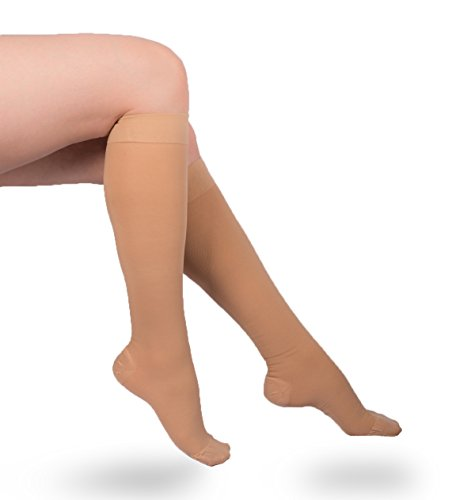 EvoNation USA Made Surgical Weight Opaque Graduated Compression Socks 30-40 mmHg Extra Firm Pressure Medical Quality Knee High Support Stockings - Best Fit Circulation Hose (Small, Tan Nude Beige)