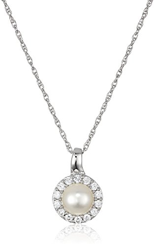 Sterling Silver Freshwater Cultured White Pearl and Cubic Zirconia with Rope Chain Pendant Necklace, 18
