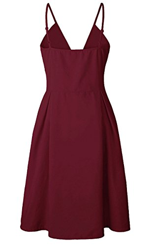 Summer Swing Red Neck Line Backless Down A Spaghetti Wine Womens V Strap Front Dress Dresses Midi Button ECOWISH Tie U7W6Sw1EWq