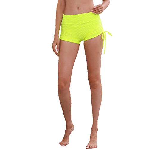 SPORTTIN Tummy Control Yoga Shorts Tie Side Bottom with Pockets Running Jogging Yoga Pants for Women(Green,US Size S = Tag M