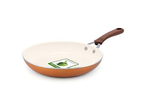 Omelet Pan 10 Covered (Trisha Yearwood Cottage Precious Metals 10 Inch Non-Stick Ceramic Fry Pan, Copper)
