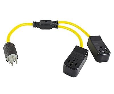 Conntek Y14501430 3FT Y Adapter Cord NEMA 14-50P RV/Generator/Range Plug to NEMA 14-30 4 Prong Dryer Female Connector