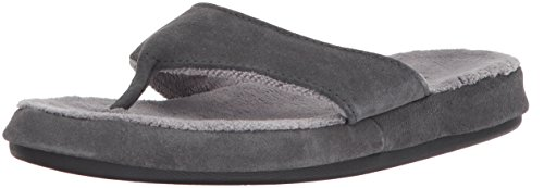 ACORN Women's Suede Spa Thong, Ash, X-Large / 9.5-10.5