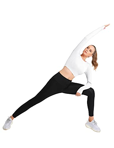 IECCP 2 Pack Women's Long Sleeve Crop Top Workout Tops Seamless Fitted Yoga Shirts Running Athletic Top with Thumb Hole