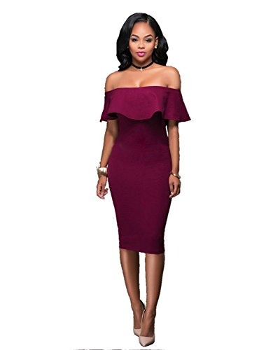 Sophia17 Shoulder Ruffle Bodycon Cocktail product image