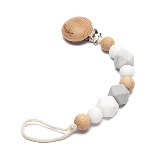 (O'MySummer Modern Pacifier Clip for Baby|Natural Beech Wood & 100% BPA Free Silicone Beads|Universal fits Bibs, Nuk, Tommee Tippee and Avent|Binky Holder for Infant Newborn Girl boy(Marshmallow White))