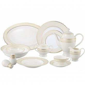 Cheap Lorren Home Trends La Luna Bone China 57-Piece Beige Border with 24K Gold Trim Dinnerware Set, Service for 8