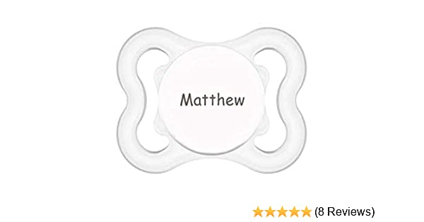 MAM Personalized Pacifier Customize Now Engraved with Babys Name 0-6m (Clear)