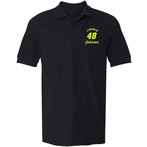 Checkered Flag Men's NASCAR 100% Cotton Driver Pique Polo/Golf Shirt-Jimmie Johnson #48-Black-XL - Jimmie Johnson Light