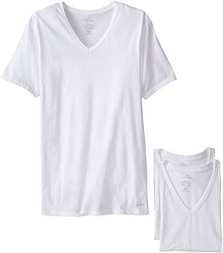 Calvin Klein Men`s Slim Fit V-Neck T-Shirts, 3-Pack (White(NB1177-100)/White, Large)
