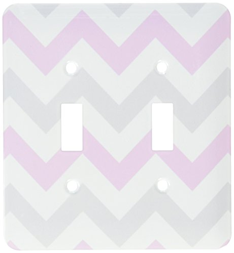 3dRose lsp_179792_2 Pink and Grey Chevron Zig Zag Pattern White Pastel Zigzag Stripes Light Switch (Pastel Pink Stripe)