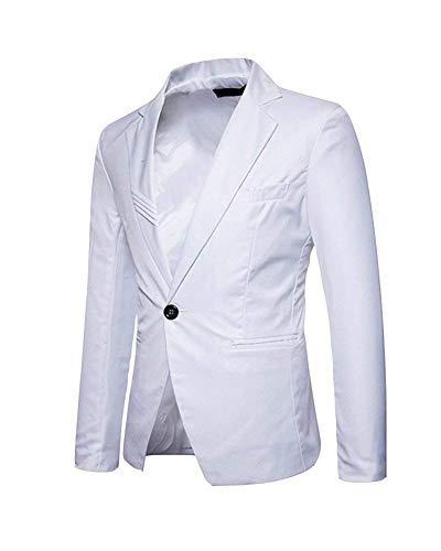 Homme Loisirs Slim Garçon 1 Blanc Costume Veste Classique Business Casual Fit Blazer 6q1Fw41EI