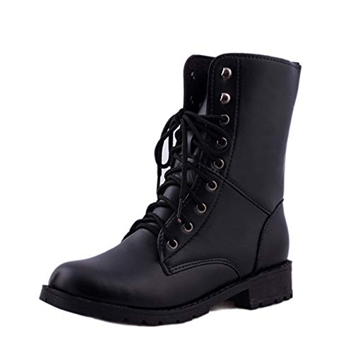 Seaintheson Women Men Lace Up Flat Ankle Booties Hiking Biker Military Army Combat Black Boots Shoes
