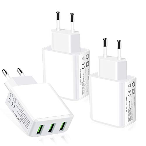European Adapter, Eversame 3.1A 5V Multi USB Charger European Travel Charger Power Adapter Charging Plug Compatible for iPhone Xs/iPhone XR, iPad, Galaxy S9, LG, Moto, HTC (Pack of 3, White)