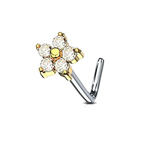 MoBody 20 Gauge Nose Ring Stud L-Shape 5 CZ Flower 316L Surgical Steel Body Piercing Jewelry (0.8mm) (Gold-Tone)