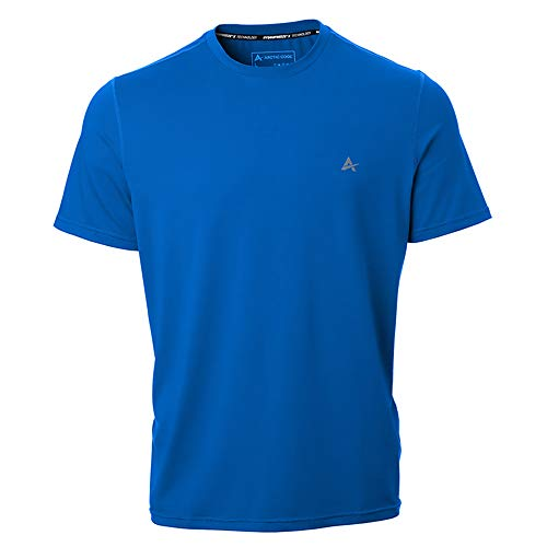 Arctic Cool Men's Crew Neck Instant Cooling Short Sleeve Shirt Performance Tech Breathable UPF 50+ Sun Protection Moisture Wicking Comfortable Athletic Gym Quick Drying, Polar Blue, XXXL