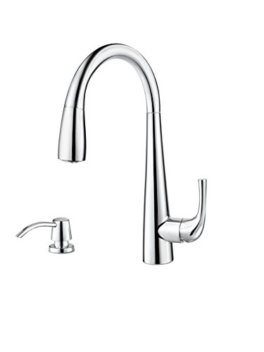 Pfister GT529-ALC Alea 1-Handle Pull-Down Kitchen Faucet with Soap Dispenser, Polished Chrome - Price Pfister Chrome Soap Dispenser
