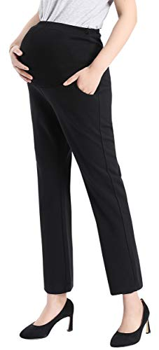 Foucome Womens Maternity Bootcut Stretch Career Dress Pants Work Office Over-Bump Capris ()