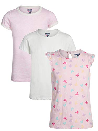 Limited Too Girls\' Short Sleeve Graphic Fashion T-Shirt (3 Pack) (Butterfly, Medium / 10-12)'