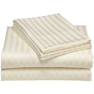 Royal Tradition Damask Stripes Ivory 600 Thread Count Split King Sheet Set 100% Cotton 5pc Bed Sheet set(Deep Pocket) 600 TC Dual King