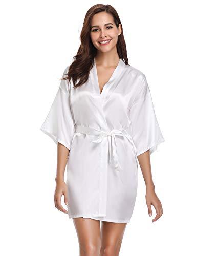 Vlazom Women's Kimono Robes Satin Short Style with Oblique V-Neck Robe (White, -