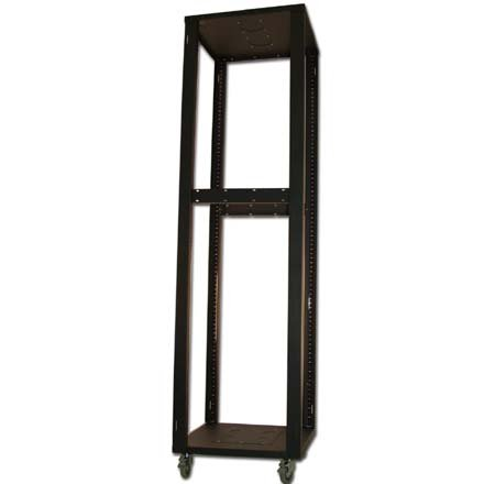 Rolling Equipment Rack 42U - Built in Casters/Wheels - Open Skeleton - Professional Use Electronics/Audio Video/Server/Switch