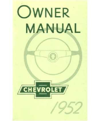 1952 CHEVROLET Full Line Owners Manual User Guide Chevy Full Line