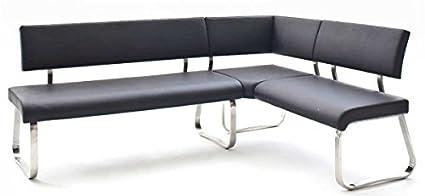 Bank, Sitzbank, Essbank Arco, Eckbank, Edelstahl, Leder, 200 cm, schwarz