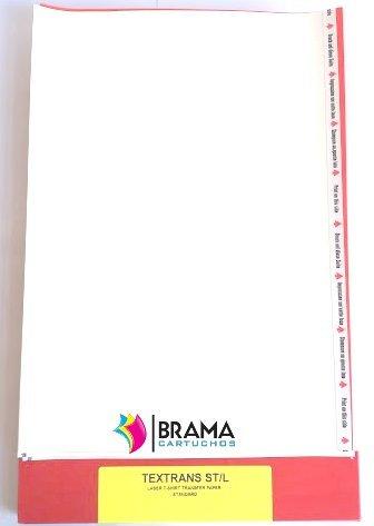 Bramacartuchos - 10 Hojas de Papel Transfer para Camisetas Blancas y Telas de Algodon para impresoras Laser.(Alimentar lado largo) Hp, Brother, Canon, ...