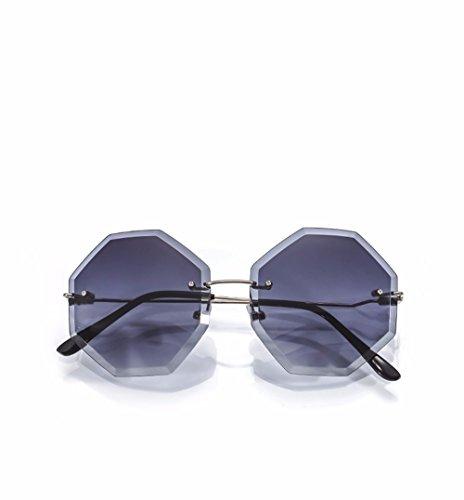 no americanos de gafas de XIAOGEGE transparentes europeos con degradado personalidad viento grandes box mujer Amarillo sol y octagon enmarcados gafas Las vanguardia Negro de sol gafas fppxq8zw