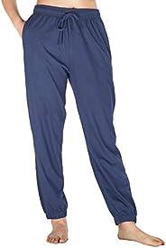 WEWINK CUKOO Womens Pajama Pants Cotton Sleep Pants Stretch Lounge Pants with Pockets