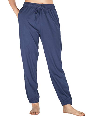 - WEWINK CUKOO Womens Pajama Pants Cotton Sleep Pants Stretch Knit Lounge Pants with Pockets (XXL=US 20-22, Navy 2)