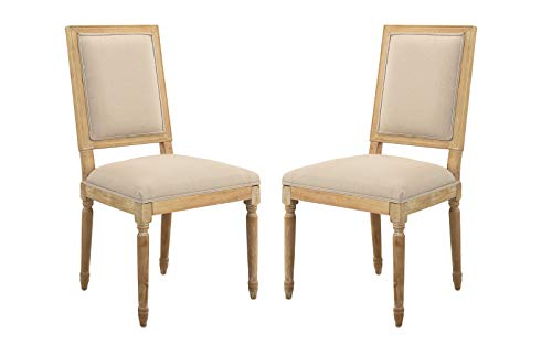 - 2 Piece Upholstered Classic Kitchen Dining Chairs (Beige)