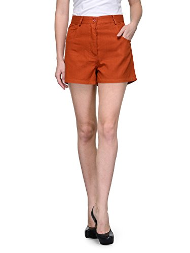 Teesort Cotton Orange Solid Shorts