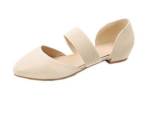 VogueZone009 Women Solid Pu Low-Heels Pull-On Closed-Toe Sandals apricot