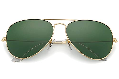 - YuFalling Polarized Aviator Sunglasses for Men and Women (gold frame/black green lens, 58)