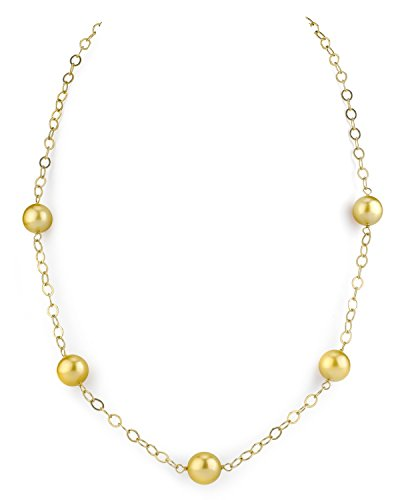 (THE PEARL SOURCE 14K Gold 9-10mm Round Genuine Golden South Sea Cultured Pearl Necklace in 18