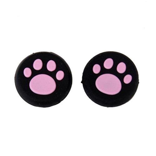 Game Controller ,Ikevan Cute Cat's Paw Silicone Gel Thumb Grips Caps For Nintendo Switch Controller (Pink)