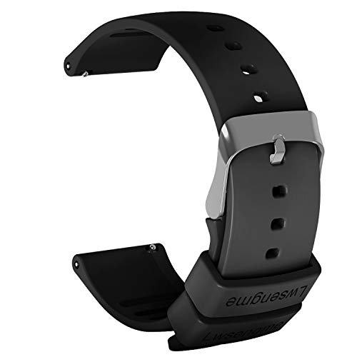 Lwsengme Silicone Watch Replacement Band with Quick Release-Choose Color & Width (20mm,22mm) & Length-Soft Rubber Watch Strap (Black, 20mm)
