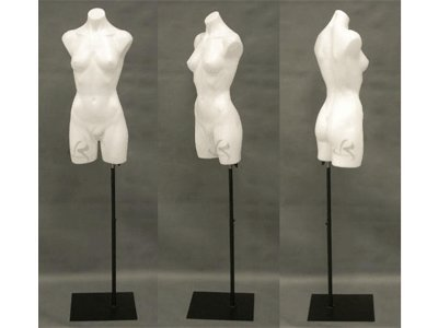 (PS-P907W+BS-05BK) ROXY DISPLAY Plastic Female Mannequin Torso White Color + Black Rectangle Metal Base