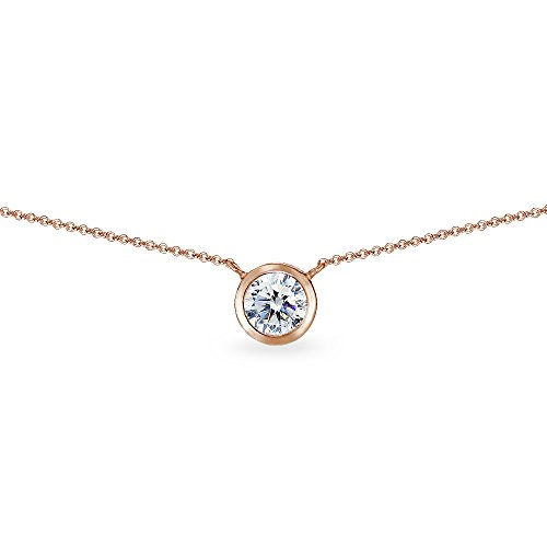 Rose Gold Flashed Sterling Silver 6mm Round Bezel-Set Dainty Choker Necklace Made with Swarovski Zirconia
