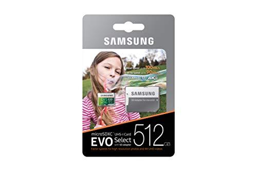 Samsung 512GB 100MB/s (U3) MicroSDXC Evo Select Memory Card with Adapter (MB-ME512GA/AM)