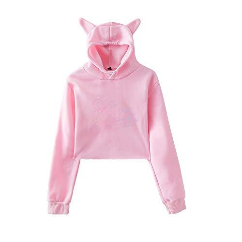 Aivosen Donna BTS Semplice Moda Felpe sportive con cappuccio Orecchie di gatto Hoodie Allentato Casual Breve Cropped Sweatshirts
