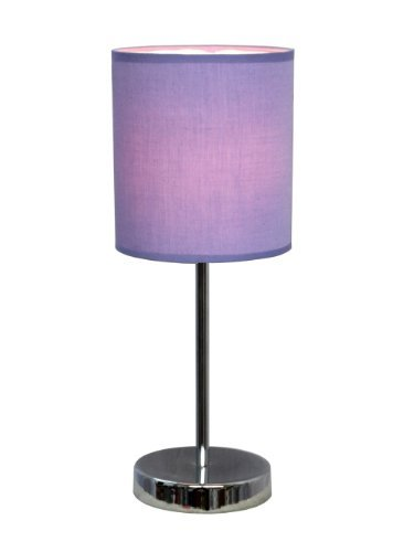 Cheap  Simple Designs LT2007-PRP Chrome Mini Basic Table Lamp with Fabric Shade, Purple..