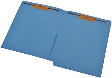 Full Cut End Tab Box of 50 11 pt Blue Folders Fastener Pos #1 /& #3 Letter Size 1//2 Pocket Inside Front